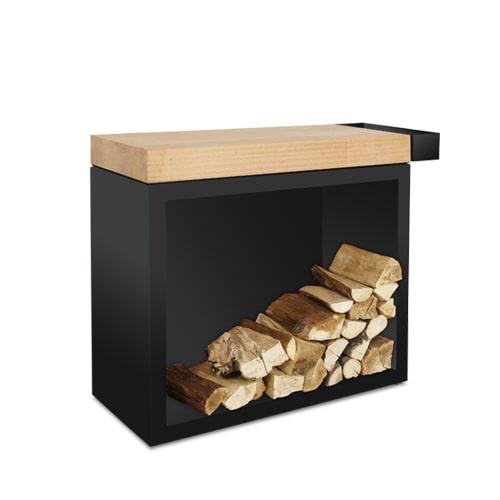 mueble ofyr lenero corten negro madera 90 Mueble de almacenaje de leña con tabla de corte en madera ó cerámica